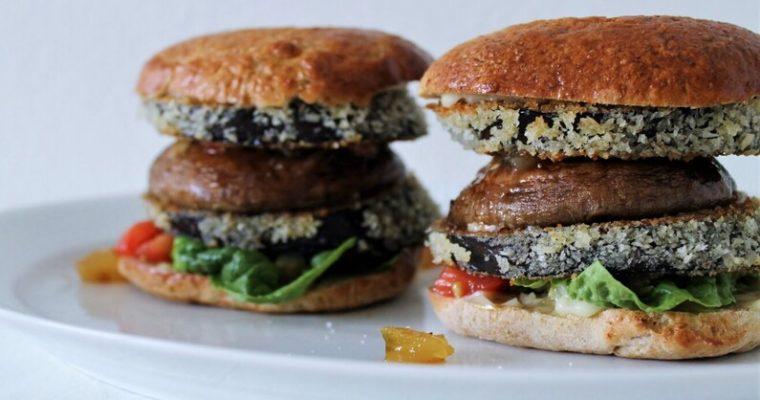 Vegetarburger med sprød aubergine og citronmayo