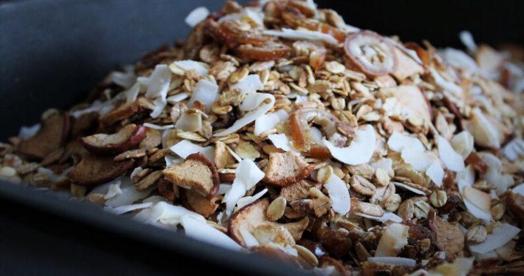 Honningristet müsli med dadler, æbler og kokos